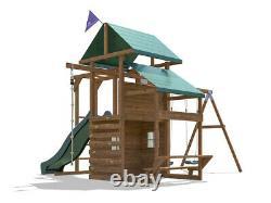 Wooden Garden Climbing Frame Playhouse Swing Slide Set ManorFort Stronghold