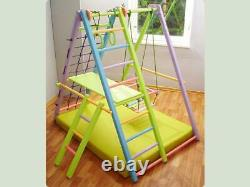 Wooden Playground for Kids Indoor Gym Set Ladder, Swing, Slide and Rings M1