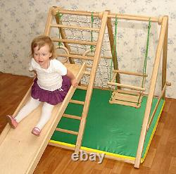 Wooden Playground for Kids Indoor Gym Set Ladder, Swing, Slide and Rings M2