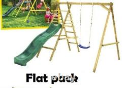 Wooden Swing Set with Platform and Slide set 215 x 250cm IN STOCK