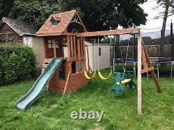 Wooden Tree House Swing Set With Slide And Climbing Frame