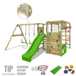 Wooden climbing frame FATMOOSE ActionArena Swing set with green slide