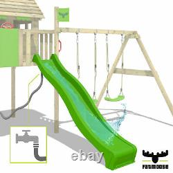 Wooden climbing frame FATMOOSE ActionArena Swing set with green slide