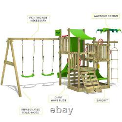 Wooden climbing frame FATMOOSE CrazyCoconut with double swing, slide & sandpit