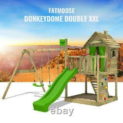 Wooden climbing frame FATMOOSE DonkeyDome with double swing, slide and sandpit