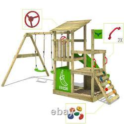 Wooden climbing frame FATMOOSE FruityForest Swing set with slide and sandpit