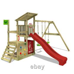 Wooden climbing frame FATMOOSE FruityForest with red slide and sandpit
