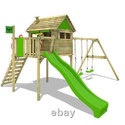 Wooden climbing frame FATMOOSE FunFactory with double swing, slide & playhouse