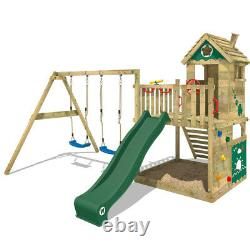 Wooden climbing frame Swing set WICKEY Smart Lodge 120 with green slide