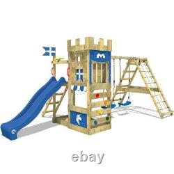 Wooden climbing frame WICKEY DragonFlyer with blue slide and two swing seats