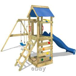 Wooden climbing frame WICKEY FreeFlyer Swing set with blue slide and sandpit