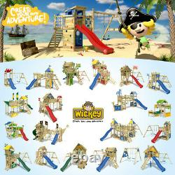 Wooden climbing frame WICKEY MultiFlyer with swing, wooden roof & blue slide