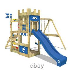 Wooden climbing frame WICKEY RoyalFlyer Swing set with blue slide and sandpit