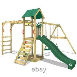 Wooden climbing frame WICKEY Smart Bridge Swing set with sandpit & green slide