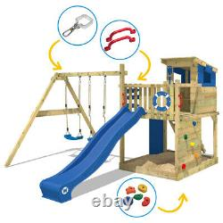 Wooden climbing frame WICKEY Smart Camp Swing set with sandpit & blue slide