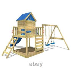 Wooden climbing frame WICKEY Smart Cave Playhouse with double swing & sandpit