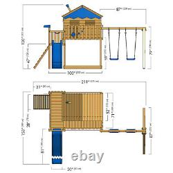 Wooden climbing frame WICKEY Smart Coast with large sandpit, swing & playhouse