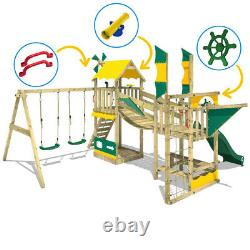 Wooden climbing frame WICKEY Smart Cruiser with double swing, slide and sandpit