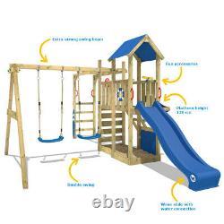 Wooden climbing frame WICKEY Smart Dock Swing set with blue slide & sandpit