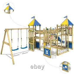 Wooden climbing frame WICKEY Smart Queen Playground with wavy slide & swing