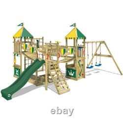 Wooden climbing frame WICKEY Smart Queen with green slide and green/yellow tarp