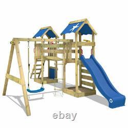 Wooden climbing frame WICKEY SunFlyer Swing Set Green slide & wobbly bridge