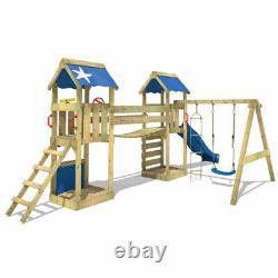 Wooden climbing frame WICKEY SunFlyer Swing Set with slide & wobbly bridge