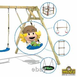 Wooden climbing frame WICKEY TinyCabin Swing set with blue slide and sandpit