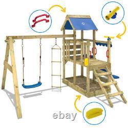Wooden climbing frame WICKEY TurboFlyer Swing set with blue slide & sandpit