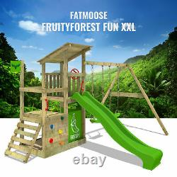 Wooden climbingframe FATMOOSE FruityForest with green slide and sandpit