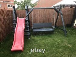 Wooden swing and slide set