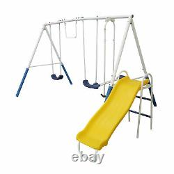 XDP Recreation Blue Ridge Outdoor Backyard Kids Swing Set with Slide + Anchor Kit