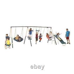 XDP Recreation Deerfield 10 Child Capacity Swing Playground & Ground Anchor Kit