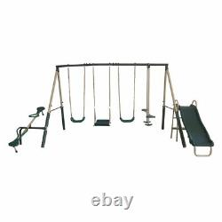 XDP Recreation Outdoor Play Kids Backyard Playset Swing Set with Slide & See Saw
