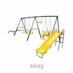 XDP Recreation Rising Sun Kids Metal Outdoor Playground Swing Set + Anchor Kit