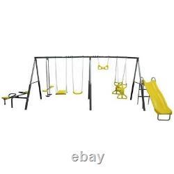 XDP Recreation Rising Sun Kids Metal Outdoor Playground Swing Set & Playset